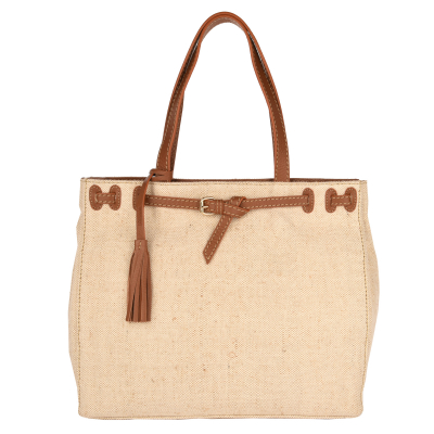 NANOU - Medium canvas bag with leather details