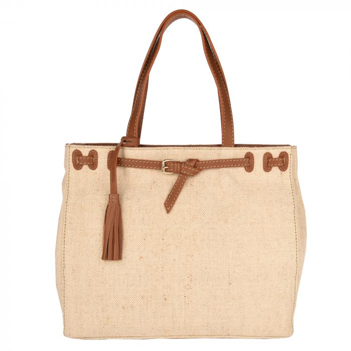 NANOU - Medium canvas bag with leather details