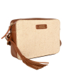 CAMERA BAG - Leather and canvas crossbody bag