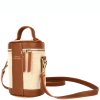 COLETTE - Small leather and canvas crossbody bag