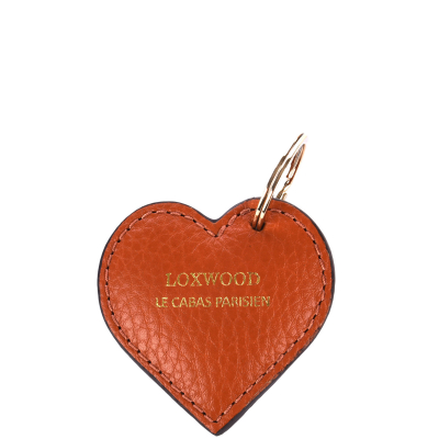 Porte clé coeur en cuir grainé