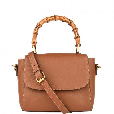 Mini sac à main EVA en cuir grainé et poignées bambou