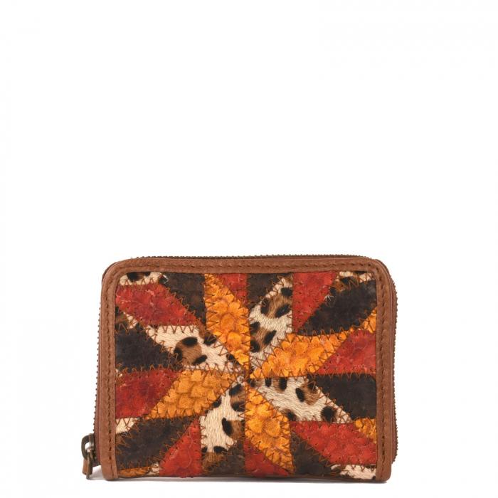 Petit portefeuille zippé en cuir patchwork