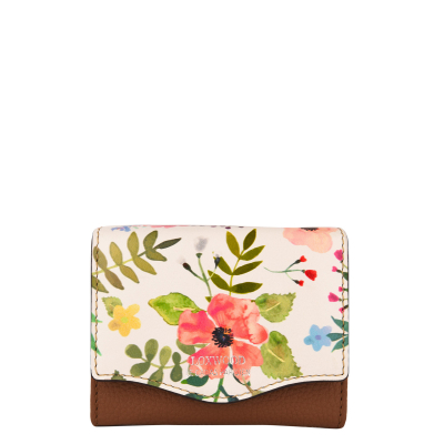 Small wallet in floral print leather