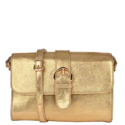LOUISE - Metallic leather clutch bag