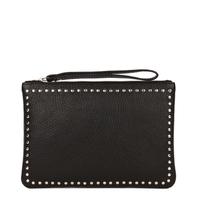 Large studded grained leather CLUTCH