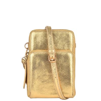 JILL - Metallic effect leather telephone pouch