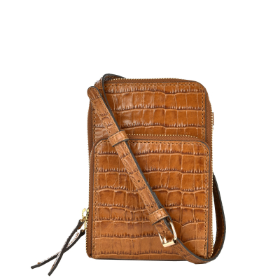 JILL - Croc effect leather telephone pouch